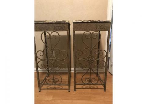 Side Tables White Washed with Metal Legs